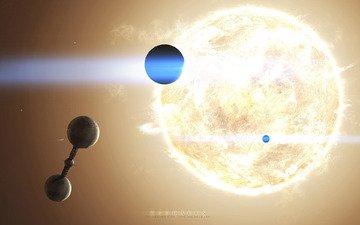 солнце, планеты, звезда, космическая станция
