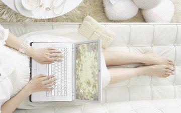 белый, ноутбук, сони, vaio