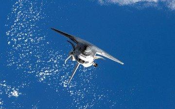 облака, земля, космос, обои, полет, океан, челнок, шаттл, космическая, спейс, космический челнок