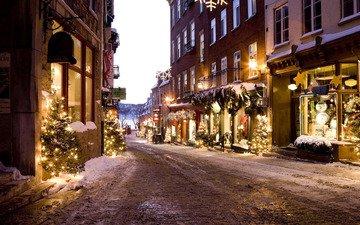 дорога, новый год, зима, дома, улица, елки, рождество, переулок