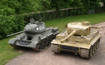 tiger, trees, the fence, tanks, technique, t-34, military