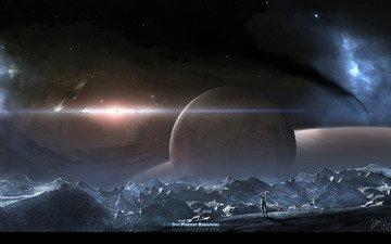 планеты, вселенная, гольф, астронавт