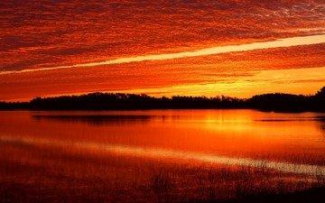 вода, закат, багровый