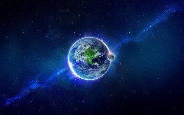 небо, земля, фон, звезды, луна