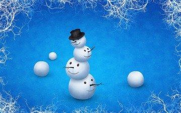 зима, снеговик, головы, шляпа, прикол, неправильный