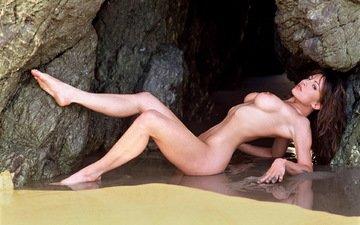 вода, пляж, ню, брюнет, влажная
