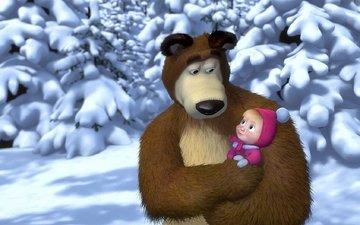 winter, cartoon, masha and the bear