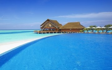beach, stay, bungalow, tropics, the maldives