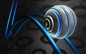 рельсы, фон, синий, цвет, черный, сфера, шар