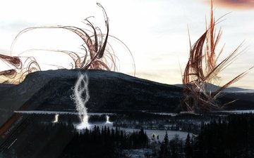 горы, природа, абстракция, лес, свечение, черный, манипуляция
