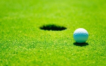 поле, гольф, мячик, газон, лунка