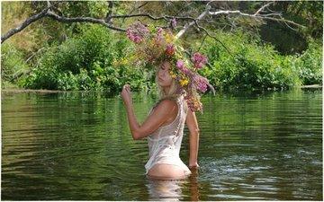 lake, girl, wildflowers, wreath