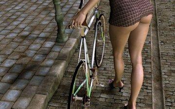 платье, ноги, ножки, туфли, велосипед, попка