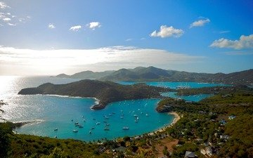 небо, природа, берег, яхты, залив, океан, катера, бухта, изгиб