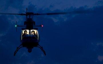 ночь, вертолет