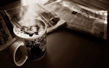 настроение, утро, кофе, газета, пена, газеты, капучино, кубок, сердечка, настольная