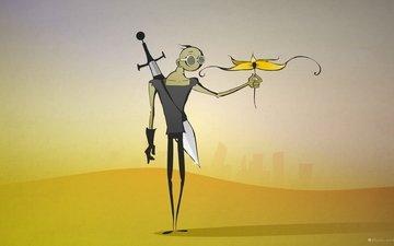цветок, меч, пустыня, постапокалептика