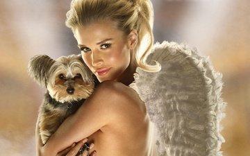 свечение, собака, ангел, девушка с собачкой