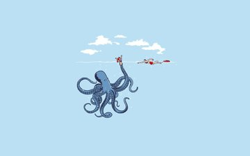 girl, sea, octopus, doll, lifeguard
