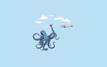 девушка, море, осьминог, кукла, спасатель, спрут