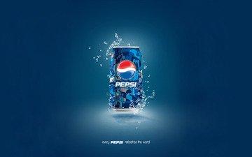 фон, синий, капли, банка, пепси