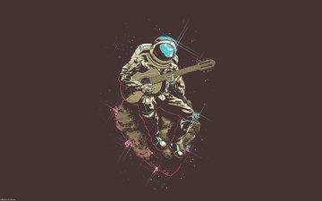 гитара, человек, скафандр