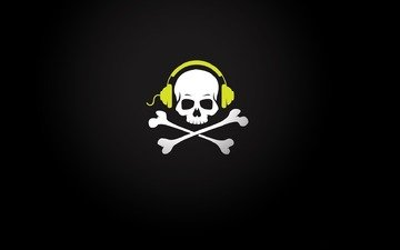 наушники, череп, кости, провод, пират, музыкa