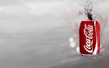 арт, всплеск, банка, кока-кола, кола