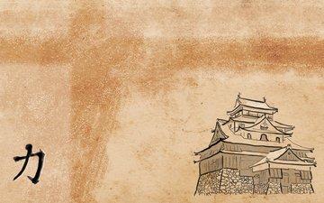 рисунок, япония, форт