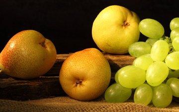 виноград, фрукты, плоды, желтые, груши, pears