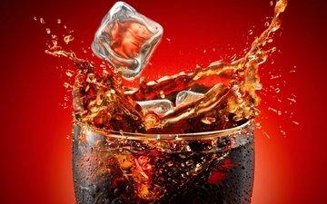 напиток, брызги, всплеск, стакан, кока-кола, кола