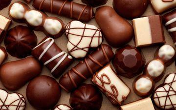 конфеты, сладости, белый, шоколад, конфета, в шоколаде, молочный