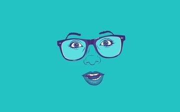 очки, минимализм, лицо, удивление