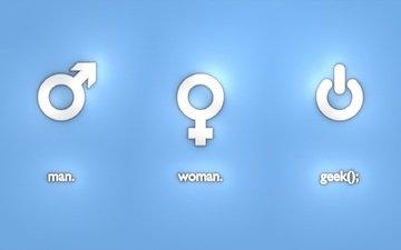 male, woman, technology