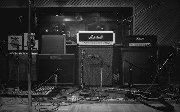 обои, фото, чб, колонки, студия, музыкальная, аппаратура, микрофоны, звукозапись
