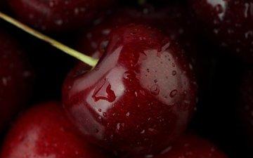 вода, макро, капли, еда, черешня, фрукт, плоды, вишенка