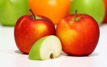 зелёный, еда, фрукты, яблоки, красный, пища, долька