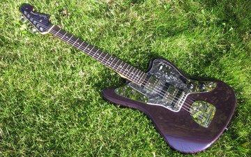 трава, фон, гитара, гриф, струны, зеленая, дека, fender