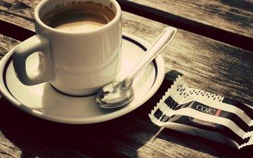 кофе, стол, блюдце, чашка, конфета, ложка