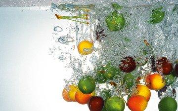 вода, фрукты, черешня, лайм, пузырьки, лимоны, абрикосы
