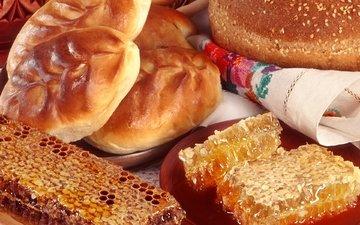 еда, соты, салфетка, мед, пирожки