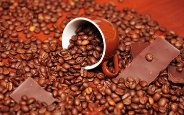 зерна, кофе, чашка, шоколад, вкусно