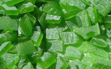 зелёный, кусочки, мармелад
