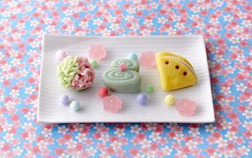 фон, еда, конфеты, сладости, шарики, мармелад, цветочный