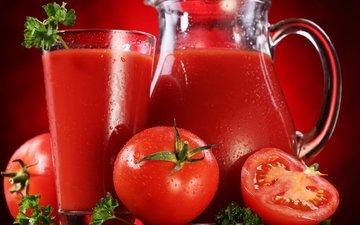 красный, томаты, сок