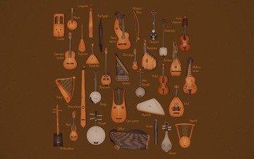 инструменты, струнные, музыкальные