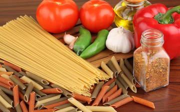 перец, чеснок, вермишель, еда студента, помидора, макароны
