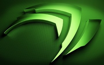 зелёный, логотип, символ, нвидия