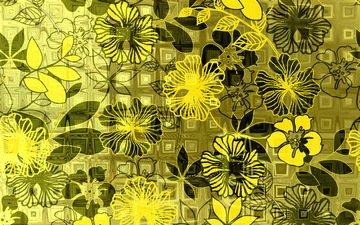 цветы, фон, клетка