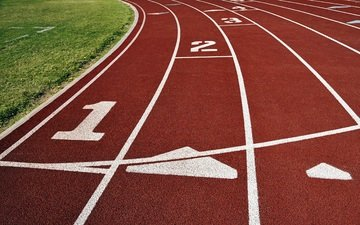 grass, line, track, figures, white, red, cross country